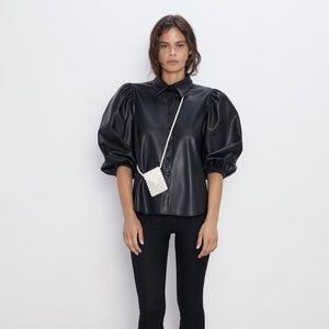 Zara   Leather puff sleeve top